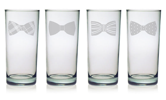 Bow Tie Pint Glasses - Set of 4