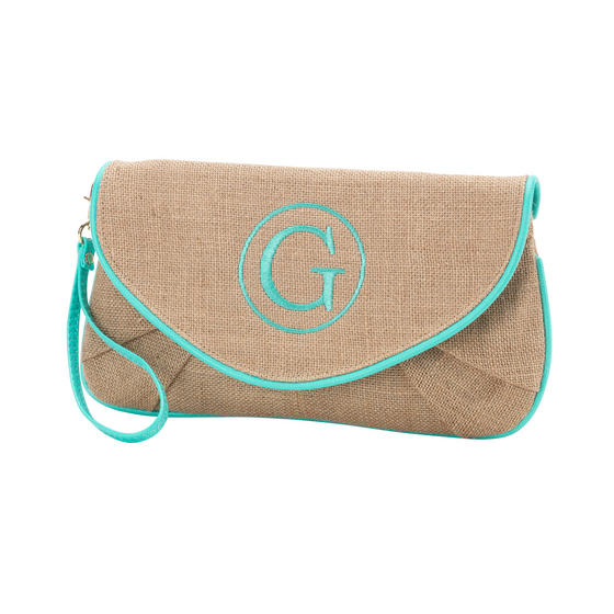 Nala Burlap Clutch - Mint - Premier Home & Gifts