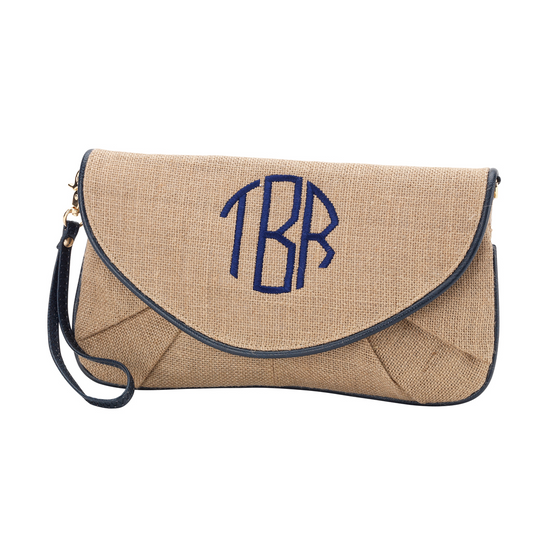 Nala Burlap Clutch - Navy - Premier Home & Gifts