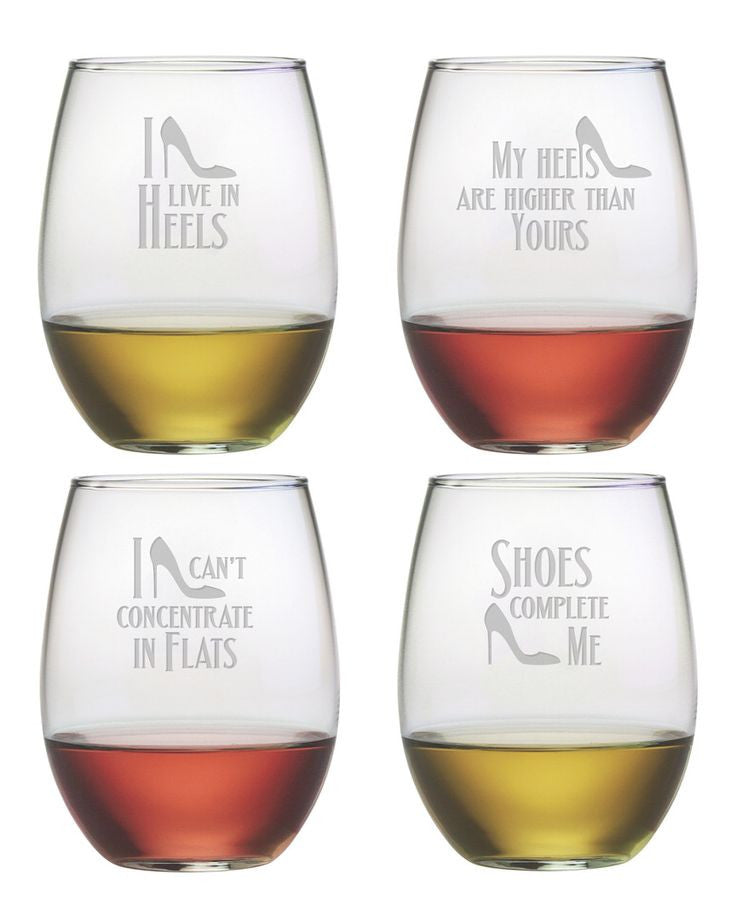 shoe quotes stemless wine glasses