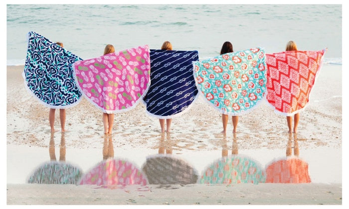 Tide Pool Round Beach Towel - Monogrammed Gifts