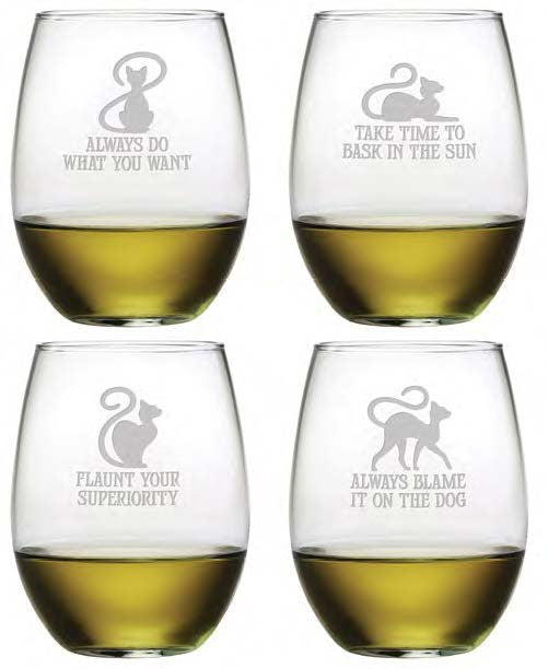 Cat Philosophy Stemless Wine Glasses