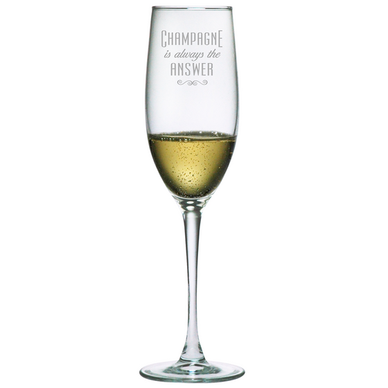 Champagne is Always the Answer Champagne Glasses ~ Set of 4 - Premier Home & Gifts