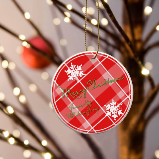 Red Plaid Christmas Ceramic Ornament