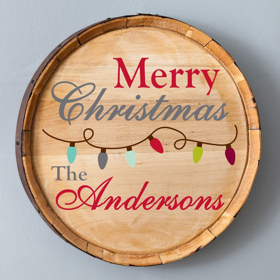 Christmas Lights Wood Barrel Sign