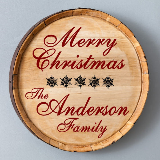 Christmas Snowflakes Wood Barrel Sign
