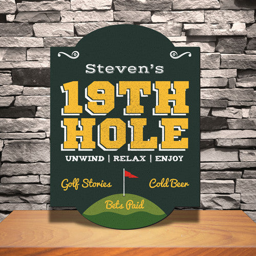 19th Hole Golf Bar Sign Personalized