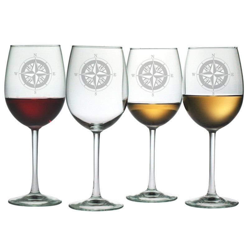 Compass Wine Glasses ~ Set of 4