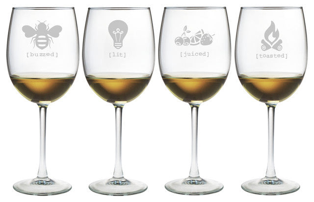 Tipsy Names Wine Glasses ~ Set of 4
