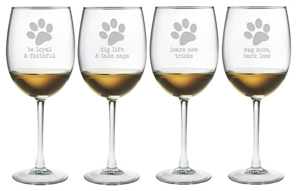 Dog Wisdom Wine Glasses ~ Set of 4