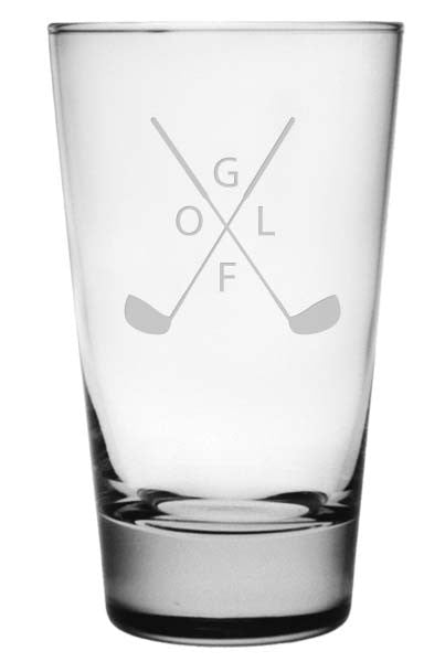 Crossed Clubs Highball Glasses - Set of 4