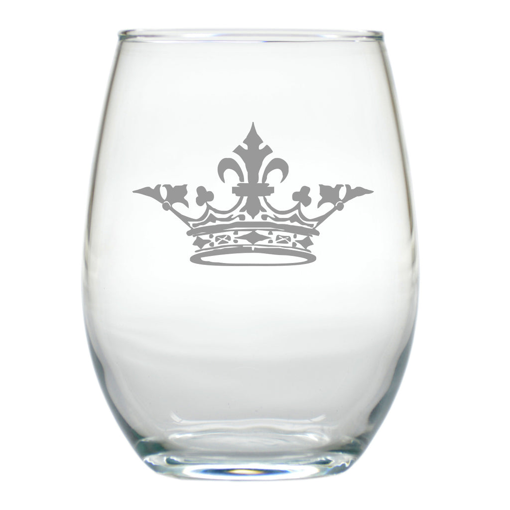 Crown Design ~ Stemless Wine Glasses ~ Set of 4