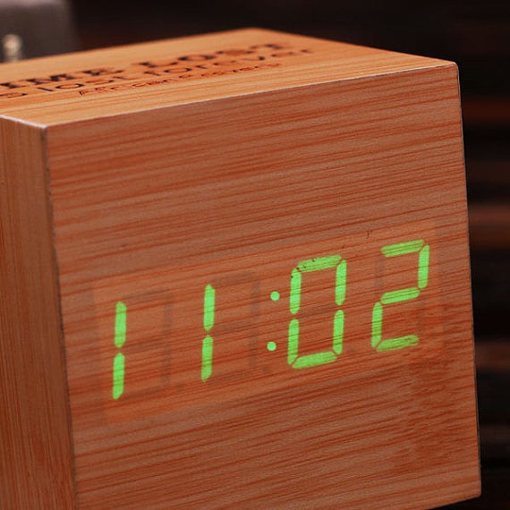 Digital Cube Mini Wood Clock - Personalized