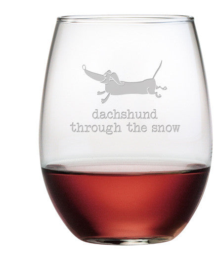 Dachshund Through ~ Stemless Wine Glasses ~ Set of 4