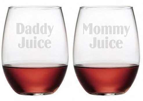 Daddy Juice & Mommy Juice Stemless Wine Glasses ~ Set of 2