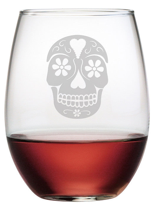 Day of the Dead Stemless Wine Glasses