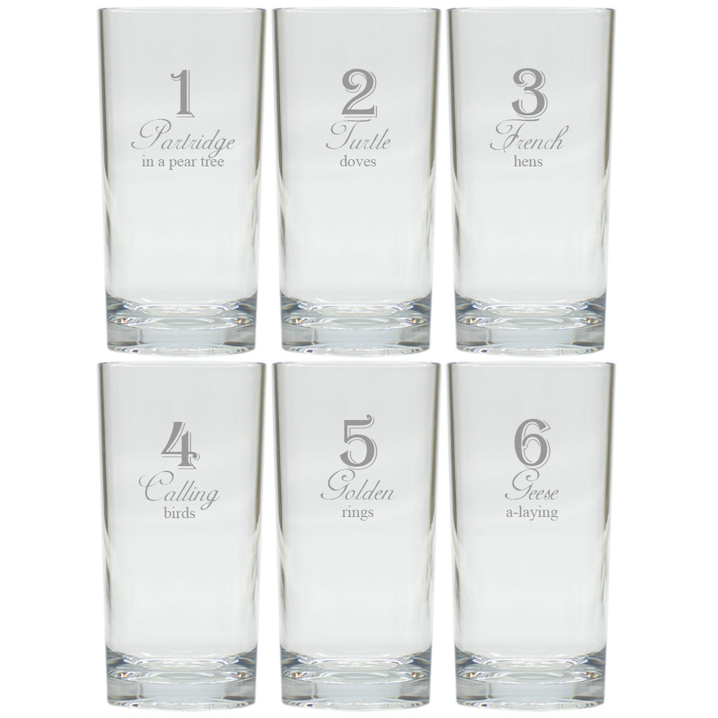 12 Days of Christmas Highball Glasses ~ Set of 12