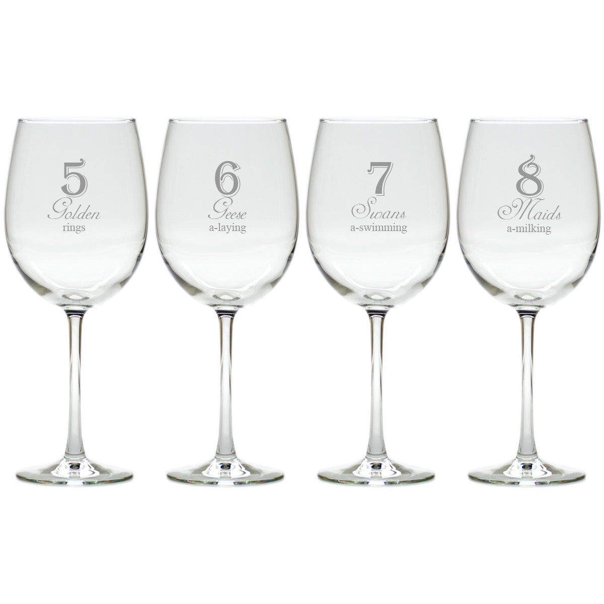 12 days of christmas wine glasses set of 12