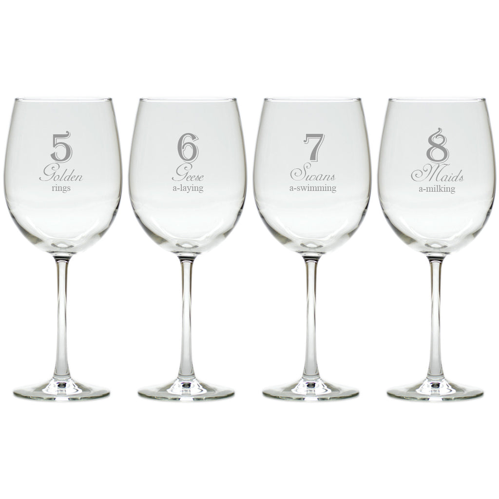 12 Days of Christmas Wine Glasses ~ Set of 12