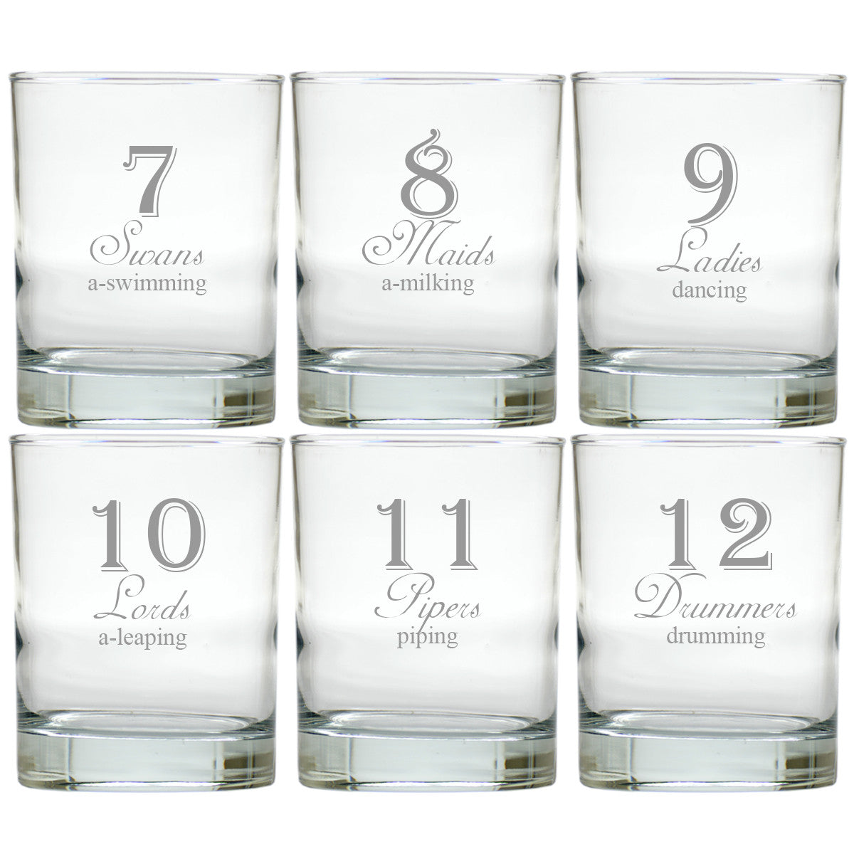 12 days of christmas double old fashioned glasses set of 12