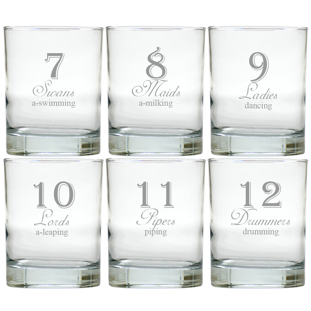 12 Days of Christmas Double Old Fashioned Glasses ~ Set of 12
