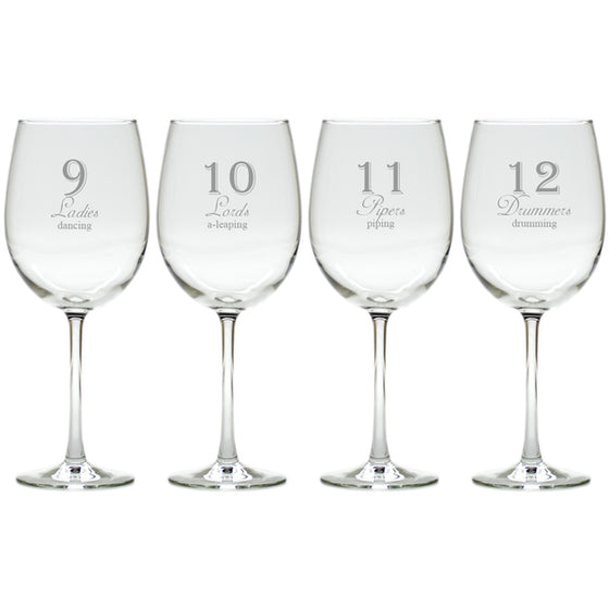 12 Days of Christmas Wine Glasses
