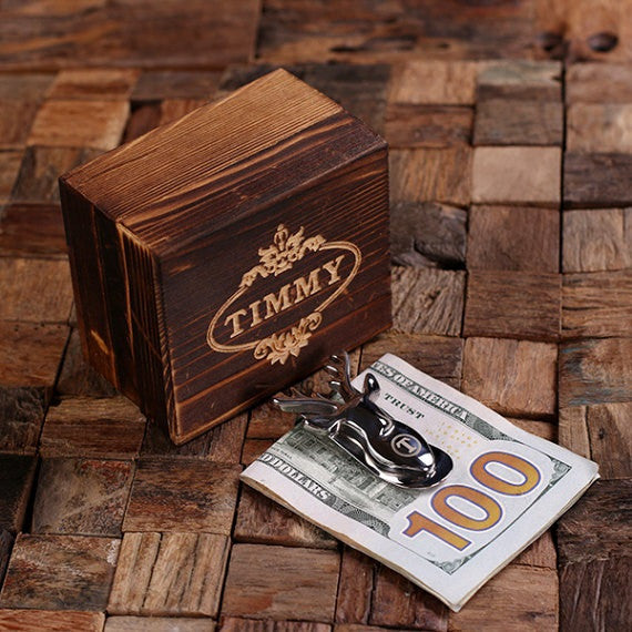 Deer Personalized Money Clip and Wood Gift Box - Premier Home & Gifts