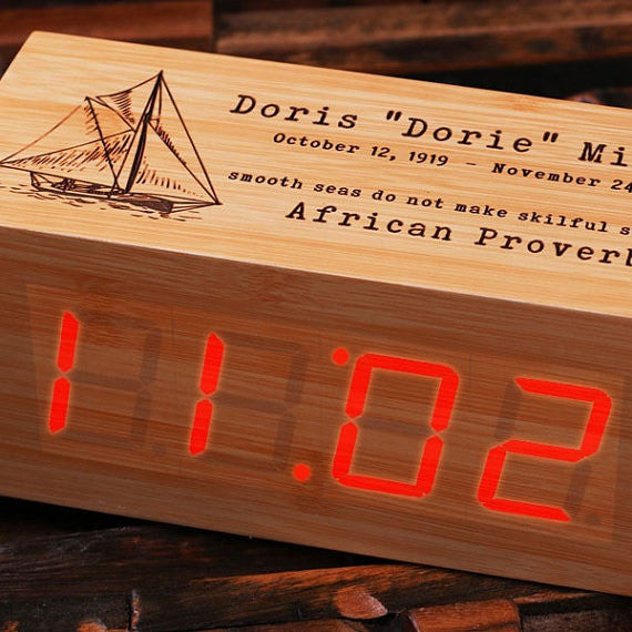 Digital Rectangle Wood Clock - Personalized
