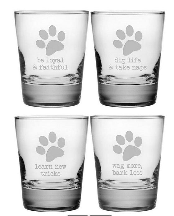 Dog Wisdom Double Old Fashioned Glasses ~ Set of 4