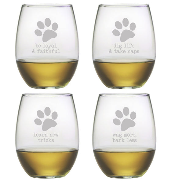 Dog Wisdom Stemless Wine Glasses