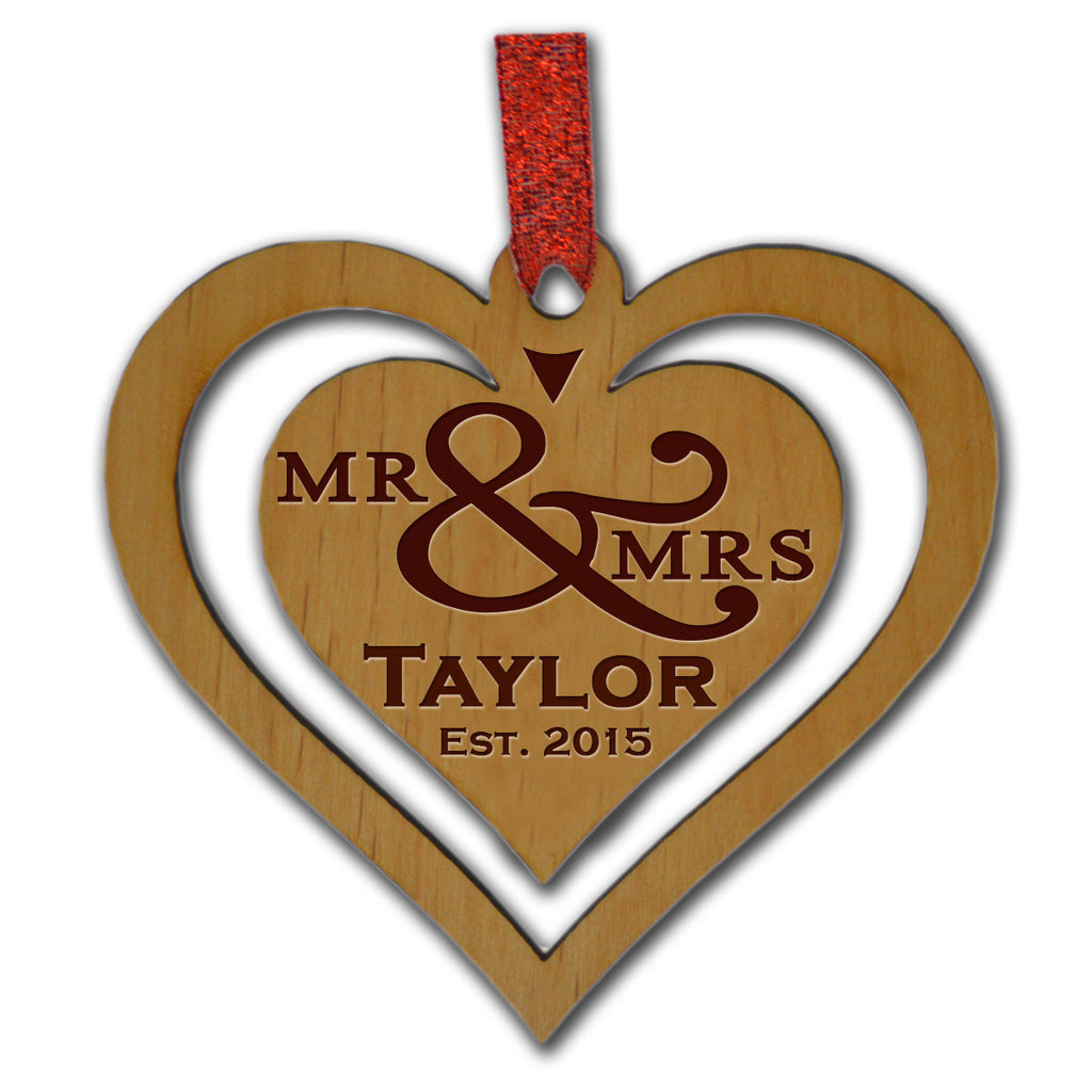 Mr. & Mrs. Wood Ornament