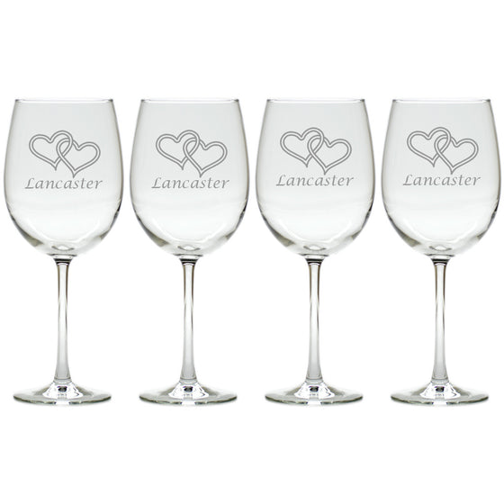Double Heart Wine Glasses ~ Personalized