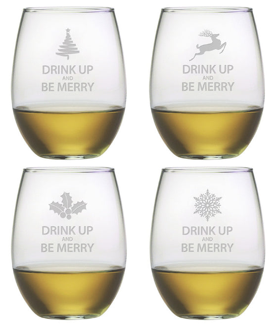 Drink Up & Be Merry ~ Stemless Wine Glasses ~ Set of 4