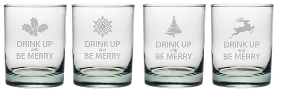Drink Up & Be Merry Double Old Fashioned Glasses ~ Set of 4