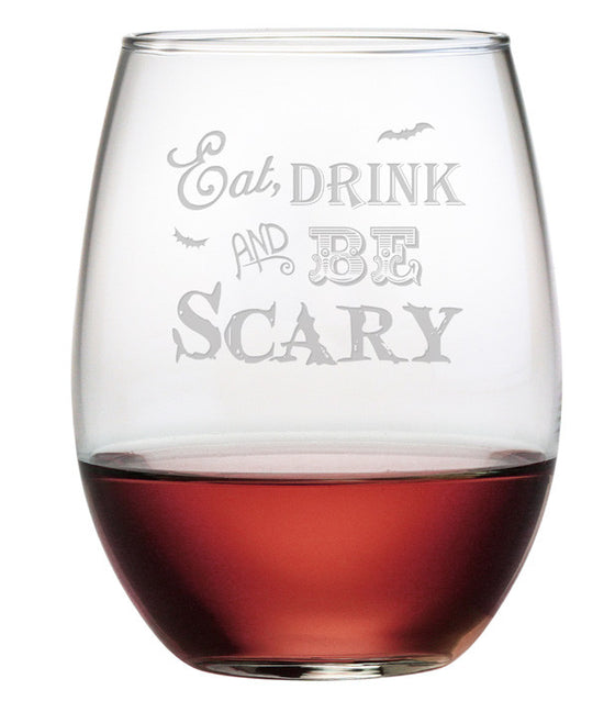 Eat, Drink & Be Scary Stemless Wine Glasses ~ Set of 4