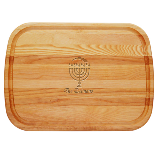 Menorah Personalized Serving Wood Board - Hanukkah Gifts