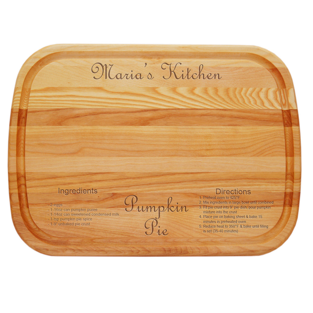 Pumpkin Pie Recipe Personalized Serving Wood Board