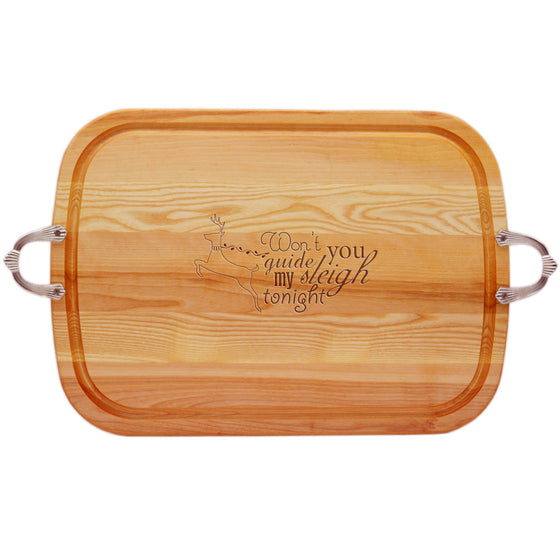 Guide My Sleigh Wood Tray with Nouveau Handles