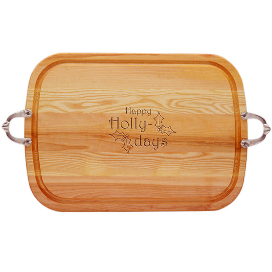 Happy Holly Days Wood Tray with Nouveau Handles
