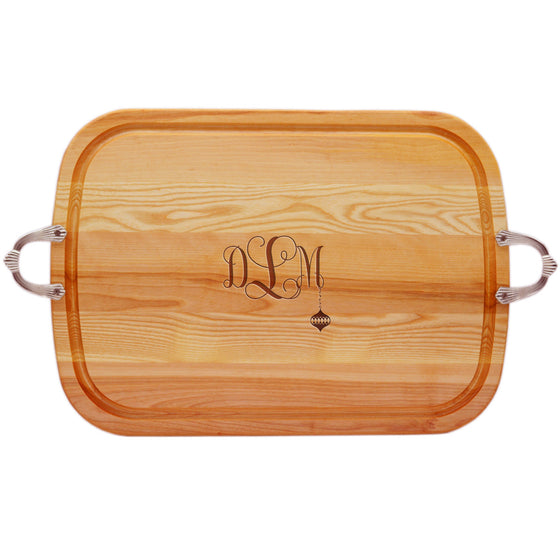 Ornament Wood Tray with Nouveau Handles ~ Monogrammed