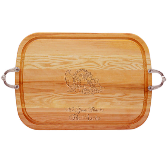 Cornucopia Wood Tray with Nouveau Handles ~ Personalized