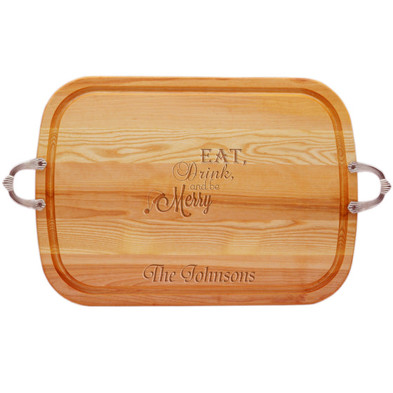 Eat, Drink & Be Merry Wood Tray with Nouveau Handles ~ Personalized