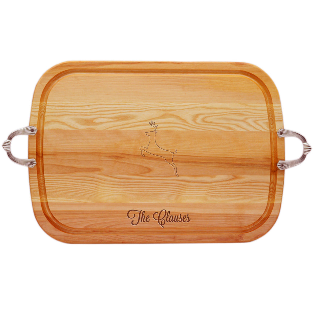Reindeer Wood Tray with Nouveau Handles ~ Personalized