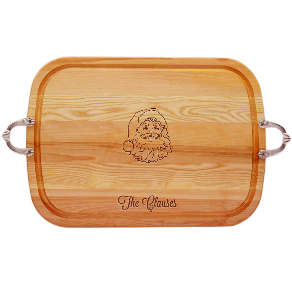 Santa Wood Tray with Nouveau Handles ~ Personalized