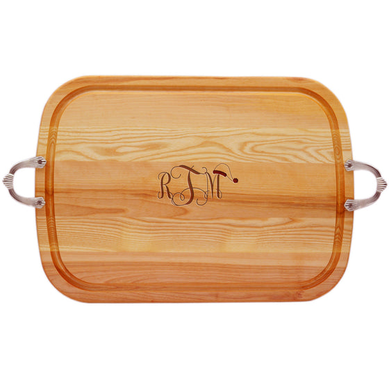 Santa Hat Wood Tray with Nouveau Handles ~ Monogrammed