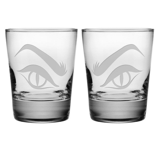 Evil Eyes Double Old Fashioned Glasses ~ Set of 2
