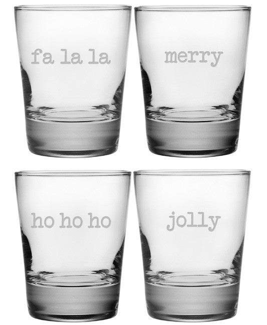 Fa La La, Etc. Double Old Fashioned Glasses ~ Set of 4