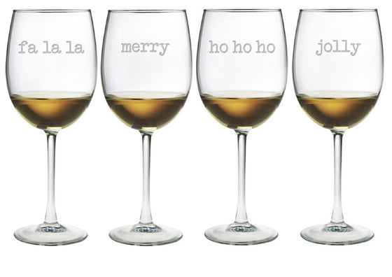 Fa La La Etc. Wine Glasses ~ Set of 4
