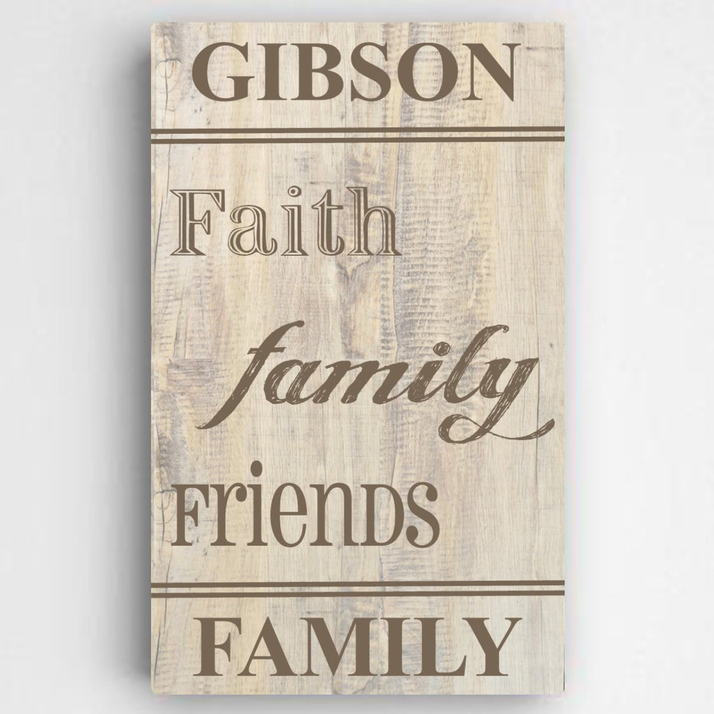Family & Faith Rustic Canvas Sign