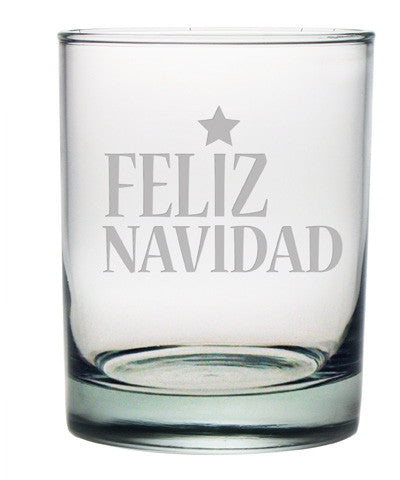 Feliz Navidad Double Old Fashioned Glasses ~ Set of 4